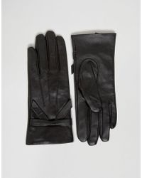 Oasis - Real Leather Bow Gloves - Black - Lyst