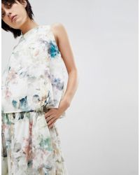 Paisie - Double Layered Floral Top With Chiffon Lining - Lyst