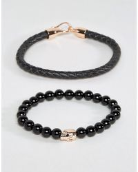 Simon Carter - Leather And Onyx Beaded Bracelet Set With Rose Gold Skull - Lyst