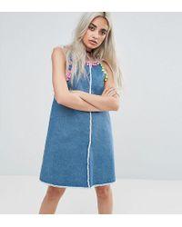 Jaded London | Denim Mini Dress With Pom Pom Trim Detail | Lyst