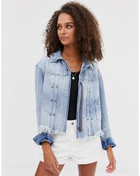 Free People Dillon Denim Jacket With Frayed Hem - Blue