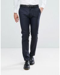 ASOS - Skinny Suit Trouser In Navy 100% Wool - Lyst