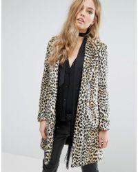 Mango - Faux Fur Leopard Print Coat - Lyst
