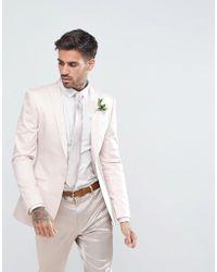 ASOS - Wedding Super Skinny Blazer In Blush Cotton Sateen - Lyst