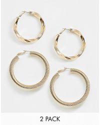 ASOS - Pack Of 2 Hoop Earrings In Twist Design In Gold - Lyst