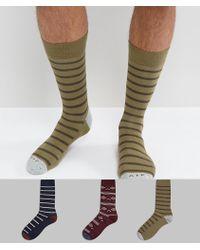 Abercrombie & Fitch | 3 Pack Socks Moose Logo In Navy/olive Stripe & Burgundy Pattern | Lyst