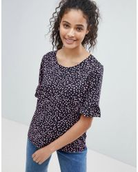 ONLY - Jolene Print T-shirt With Ruffle Sleeve - Lyst