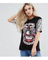 Noisy May Petite - Printed T-shirt With Sequin Sleeve - Lyst