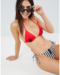 ASOS DESIGN - Mix And Match Stripe Print Tie Side Bikini Bottom With Hook And Eye - Lyst