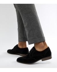 River Island - Faux Suede Wide Fit Brogues In Black - Lyst