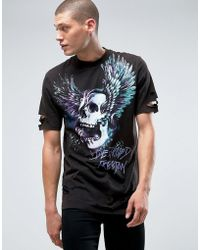 ASOS - Longline T-shirt With Skull Print And Heavy Wash Distress - Lyst