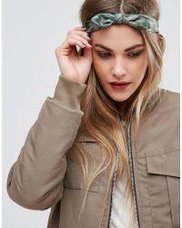 Glamorous - Khaki Bow Headband - Lyst