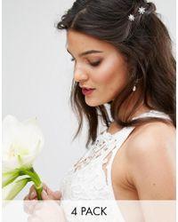 True Decadence - Pearl And Rhinestone Flower Hair Pins - Lyst