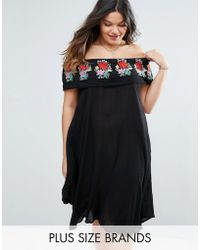 Diya - Plus Bardot Dress With Embroidered Frill - Lyst