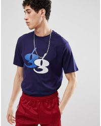 Gio Goi - T-shirt With Flocked Logo In Navy - Lyst