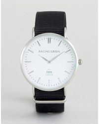 Racing Green - Black Strap Watch With Round White Dial - Lyst