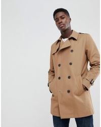 ASOS DESIGN - Shower Resistant Double Breasted Trench In Tobacco - Lyst