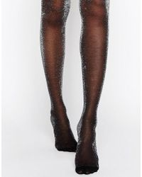 New Look - All Over Glitter Tights - Silver - Lyst