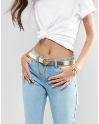 Versace Jeans - Leather Belt In Gold With Chain Detail - Lyst