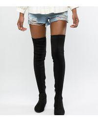 ASOS - Asos Design Petite Kelby Flat Elastic Thigh High Boots - Lyst