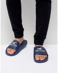 Hollister - Logo Sliders In Navy - Lyst