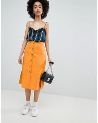 Bershka - Button Front Linen Skirt Plain In Orange - Lyst