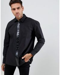 HUGO - Eiry Regular Fit Zip Thru Tape Logo Poplin Stretch Shirt In Black - Lyst