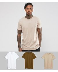 ASOS - Longline T-shirt 3 Pack Save - Lyst