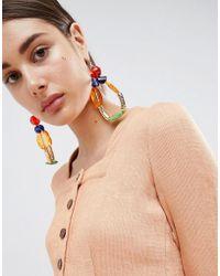 Asos Statement Jewel Bead Loop Earrings Lyst