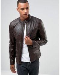 Barneys Originals - Real Leather Quilted Biker Jacket - Lyst