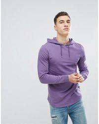 ASOS - Longline Muscle Hoodie With Curved Hem In Purple - Lyst
