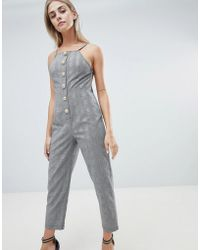 39b35320b92 PrettyLittleThing - Button Front Tailored Jumpsuit In Check - Lyst