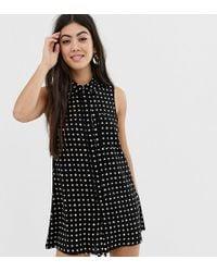 7bb587c32f ASOS - Asos Design Petite Sleeveless Shirt Swing Playsuit In Print - Lyst