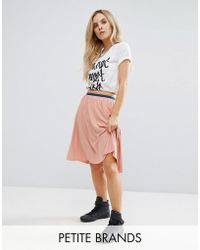 Noisy May Petite - Pleated Skater Skirt With Contrast Waistband - Lyst