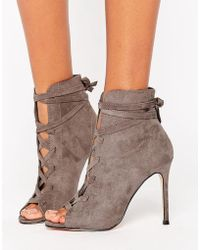 Lipsy - Lace Up Peep Toe Boots - Lyst