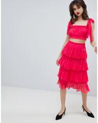 Vero Moda - Chiffon Ruffle Midi Skirt - Co Ord - Lyst