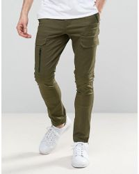 ASOS - Super Skinny Pants With Zip Cargo Pockets In Khaki - Lyst
