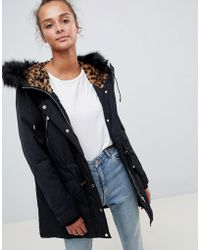 ONLY - Leonora Longline Parka Coat With Faux Fur Trim - Lyst