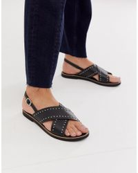 Warehouse - Cross Over Leather Sandals With Stud Detail In Black - Lyst