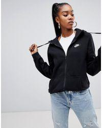 Nike - Club Black Zip Thru Hoody - Lyst