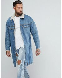 Sixth June - Longline Denim Jacket With Borg Lining - Lyst