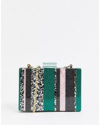 ASOS - Marble Boxy Clutch Bag In Glitter Colourblock - Lyst