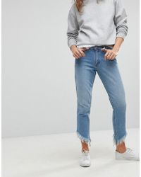 ONLY - Straight Leg Frayed Jeans - Lyst
