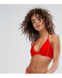 Wolf & Whistle - Plunge Bikini Top With Exposed Cradle & Chain A-d Cup - Lyst