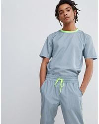 ASOS DESIGN - Co-ord Relaxed T-shirt In Grey Check With Neon Piping - Lyst