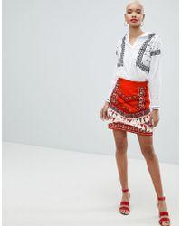 River Island - Tassel Detail A-line Mini Skirt - Lyst