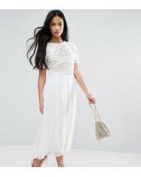 ASOS   Heavy Applique Crop Top Midi Dress   Lyst
