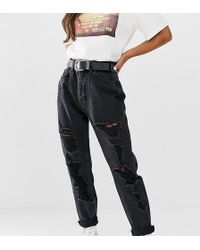 Pull&Bear - Ripped Mom Jean In Black - Lyst