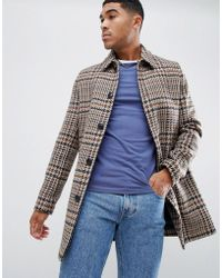 ASOS - Wool Mix Overcoat In Brown Check - Lyst