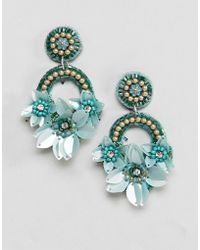 ASOS - Design Pretty Embroidered Floral Bead Earrings - Lyst